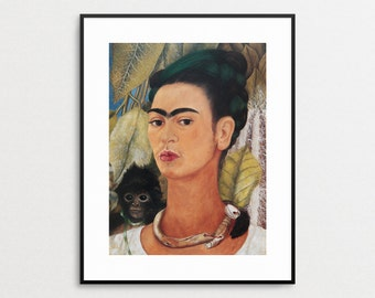 Frida Kahlo - Self Portrait with Monkey 1938 - Vintage Book Page - Wall Art - Mexican Folk Art - Frida Kahlo Print - Frida Kahlo Art