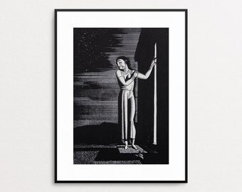 Rockwell Kent - Original Vintage Book Print -  Starry Night - Art Deco- Bold Design - Monochromatic - Woman in Doorway - Night Sky