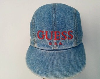 Free Ship !! Rare !! Vintage GUESS U.S.A ? Font Denim Hat / Baseball Cap Good Condition One size fits all