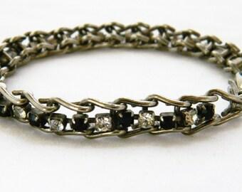 Vintage 80s Rhinestone Tennis Bracelet, Tennis Bracelet, Ladder Link, Chain Link, Rhinestone Bracelet, Silver Tone, 80s Bracelet