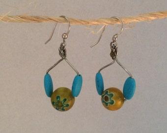 Turquoise and handmade glass bead earrings