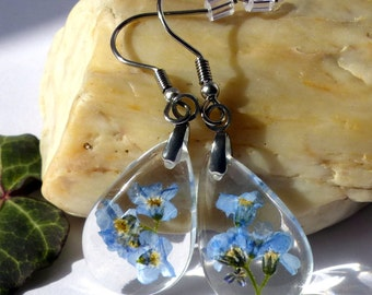 Forget-me-not earrings, real flower jewelry, nature inspired, romantic