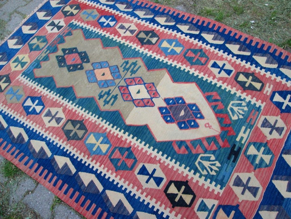 Traditional Muti Color Anatolia Wool Kilim RUG, Kelim Rug ,Vintage Nice Kilim For Home Decor