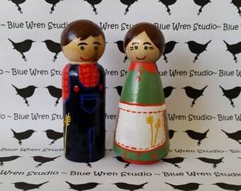 Wooden Peg Dolls - Farmer, Wife & Animals