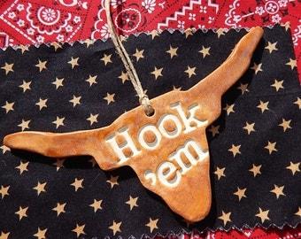 Texas Ornament, Longhorn Ornament, Texas Christmas Ornament, Hook em