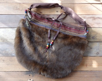 Faux Fur Purse, Hobo Bag - Vintage Style - Gypsy, Boho, Hippie  - Handcrafted, Handmade, Unique, OOAK