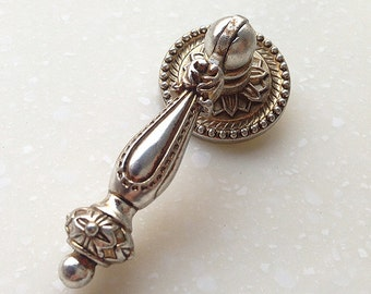 Antique Silver French Style Shabby Chic Drop Ring Dresser Drawer Pulls  Handles / Kitchen Cabinet Pull