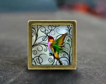 Bird--Square Drawer knobs/Handmade Vintage Bronze Dresser knobs cabinet Dresser Knobs pull/Dresser Pull/Cabinet Knobs/Furniture Knobs