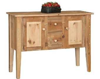 """Reclaimed Barn Wood Buffet Server Cabinet - Pine Wood - 2 Drawer/2Door- Tapered Legs - 51""""Wx19""""Dx38""""H"""