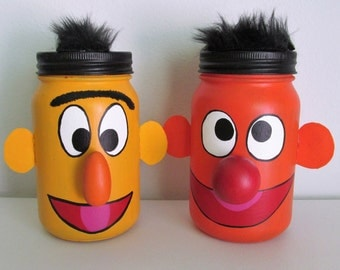 Hand-Painted Bert and Ernie from Sesame Street Inspired Mason Jar Piggy Banks, set of 2