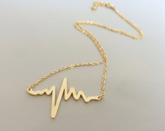Heartbeat Pulse EKG Gold Necklace
