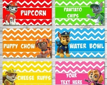 CUSTOMIZED Paw Patrol Food Labels, Paw Patrol Food Tents, Paw Patrol Food Label Tents, Paw Patrol Birthday Party, Paw Patrol Party