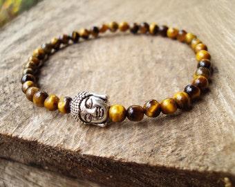 4mm Tiger eye bracelets,Buddha bracelets,Stone bracelets,Mens bracelets