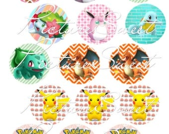 Pokemon Themed Party-EDIBLE Cupcake Toppers, Edible PRINTINGS, Edible  paper, Pre-Cut, Ready to Use, Circles