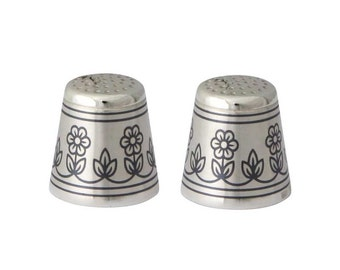 Silver Thimble with Flowers Pattern, Blackening Technique