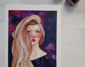 Galaxy girl - Giclee