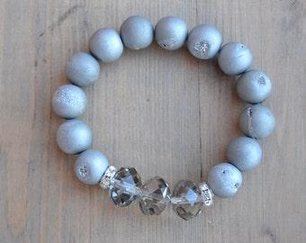 Silver Grey Druzy Stretch Bracelet with Czech Crystals and Rhinestone Rondells