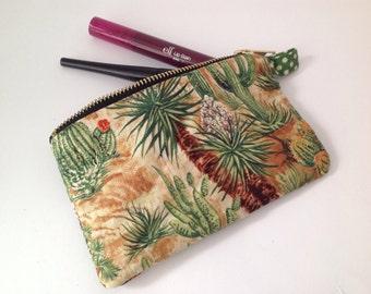 Cactus desert fabric change purse, lipstick pouch with sturdy metal zipper