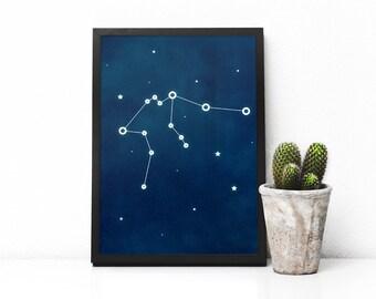 Aquarius zodiac art, Aquarius constellation print, printable poster, Blue