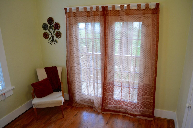 brown and gold paisley tab top saree curtains by sareesansaar. Black Bedroom Furniture Sets. Home Design Ideas