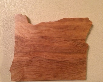 Hand Crafted Wooden Oregon State Outline
