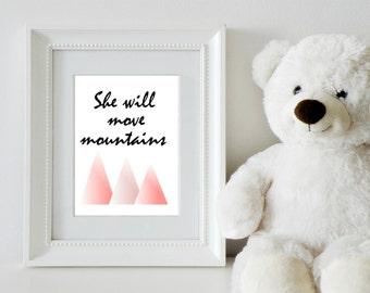 She Will Move Mountains Wall Art Printable