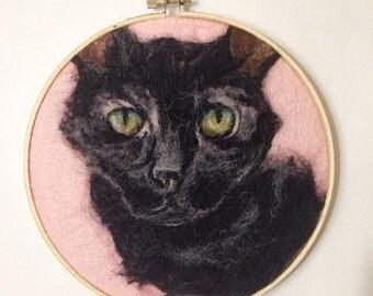 Custom needle felted pet portrait