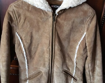 Ladies' Hooded Suede Jacket with Faux Fur Lining Small Vintage