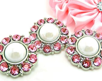SHINY WHITE Pearl Buttons W/ Pink Surrounding Rhinestone Acrylic Rhinestones Coat Buttons Button Bouquet Diy Craft 25mm 2997 38P 26R