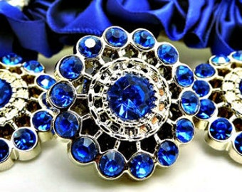 ROYAL BLUE Rhinestone Buttons Acrylic Rhinestone Buttons Pin Wheel Shaped Rhinestone Buttons Coat Buttons Fashion Buttons 26mm 3186 4R