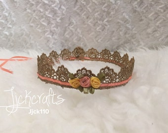 Newborn baby Gold lace crown with flowers