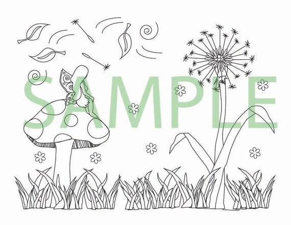 Dandelions and toadstools fairy coloring page by sunflowerdist for Dandelion coloring page