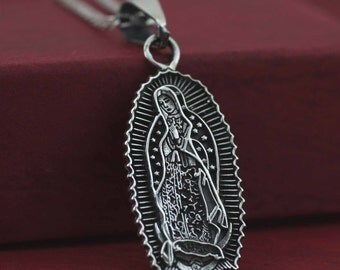 Guadalupe Necklace, Sterling Silver Our Lady of Guadalupe Medal , Virgen d e Guadalupe Necklace, Virgin Mary,  Ave Maria, Hail Mary,
