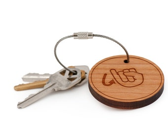 Asl J Keychain, Wood Keychain, Custom Keychain, Gift For Him or Her, Wedding Gifts, Groomsman Gifts, and Personalized