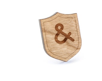 Ampersand Lapel Pin, Wooden Pin, Wooden Lapel, Gift For Him or Her, Wedding Gifts, Groomsman Gifts, and Personalized