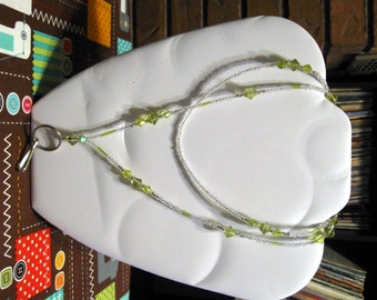 New Beaded Lanyard Name Badge ID Key Holder ~Green Peridot Dreams ~ Gift Idea Office Work Nurse Secretary Acrylic