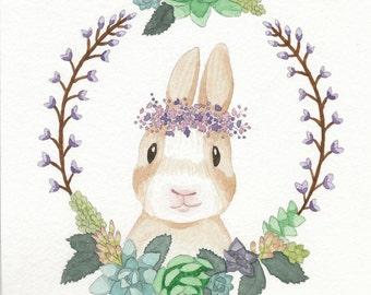 """Forest Friend Bunny Succulent Flower Watercolor 5""""x7"""" Fine Art Print"""
