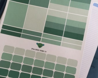 Foamy and Green Planner Stickers-Boxes and Color Coding Labels-Removable