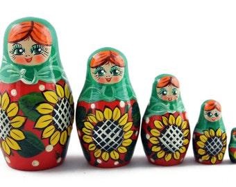 Matryoshka Matreska Babuska Russian Nesting Wooden Doll Sunflowers Gift Matrioshka 5 Pcs Stacking Hand Painting Beautiful Nested Great Craft