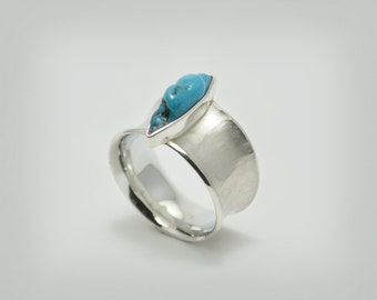 "Ring ""concave Turquoise"" silver"