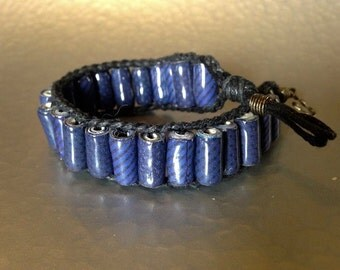 Blue upcycled paper cuff