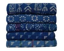 5 Pcs Lot Vintage Indigo Kantha Quilt Natural Blue Sari Kantha Throw Blanket