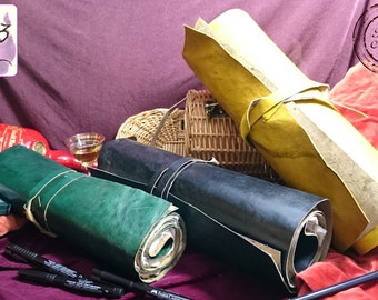 Handmade Leather Scroll-Style Journal with Leather Thong Closure