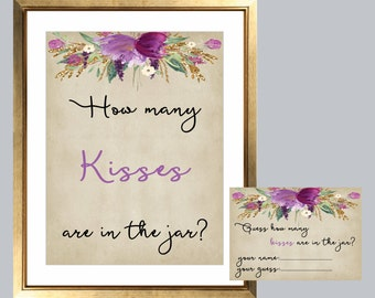 how many kisses in the jar, guess how many kisses sign, guess how many kisses, bridal shower games, rustic shower game, printable game