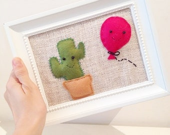 Paintings with cute cactus, felt and jute
