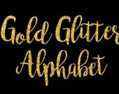 Gold Glitter Alphabet ClipArt Gold Glitter Letters Gold Glitter Font Gold Alphabet Letters Gold Glitter Numbers 68 Elements Instant Download