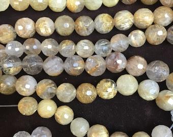 8MM faceted rutilated quartz beads
