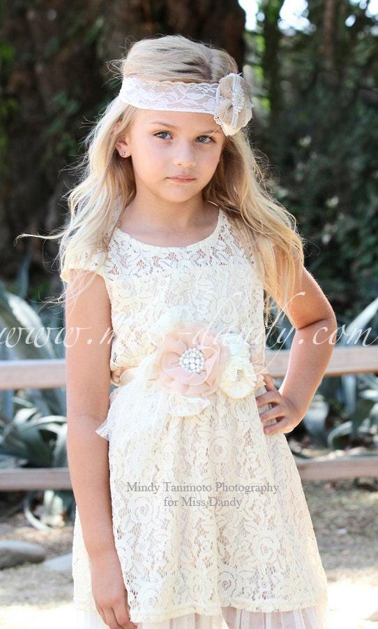 Zoe Dress- Lace Flower Girl dress Set - Flower Girl Dress Set-Champagne flower girl dress & Sash Belt-Rustic Girls Dress-Junior Bridesmaid