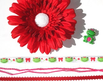 Inspiration Embellishment Kit Gerbera Daisy Silk Flower Grosgrain Ribbon Frog & Heart Resin Flatbacks Hair Bows Hats Home Decor Scrapbooking