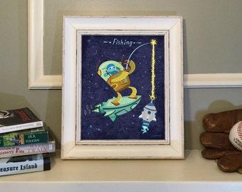 Robot Boy Fishing, Satellite, Outer Space, Fantasy, Science Fiction, Rocket Ship